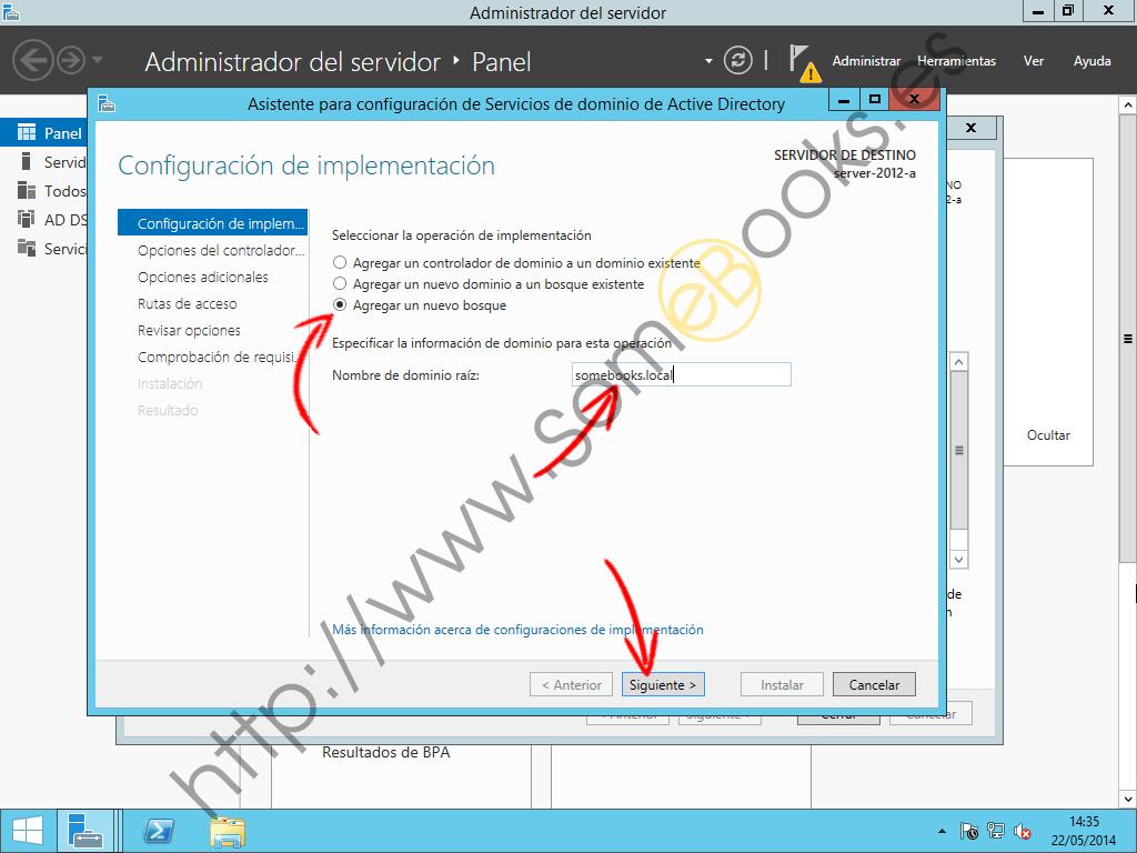 Instalar un dominio desde la interfaz grafica de Windows Server 2012 ...