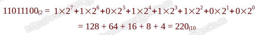 Ejemplo binario a decimal