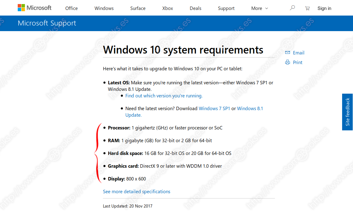 Requisitos mínimos para Windows