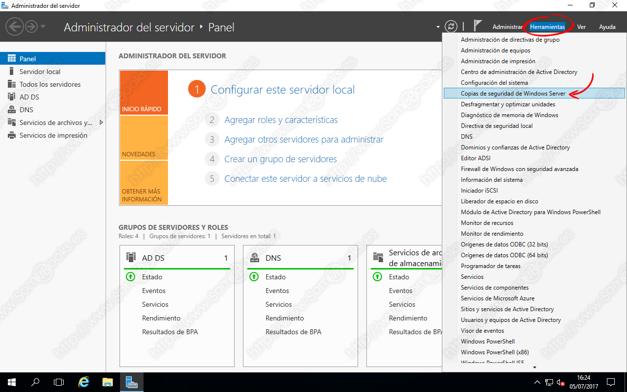 Abrir copias de seguridad de Windows Server